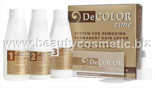 Decolor Time System permanently removing color from dyed hair