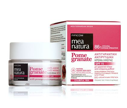 Mea natura Pomegranate anti-ageing anti-wrinkle day face cream SPF 15