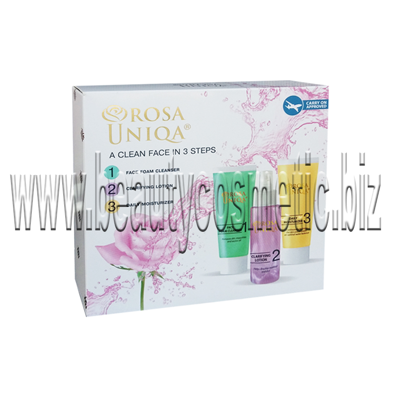 Rosa Uniqa Travel set a clean face in 3 steps
