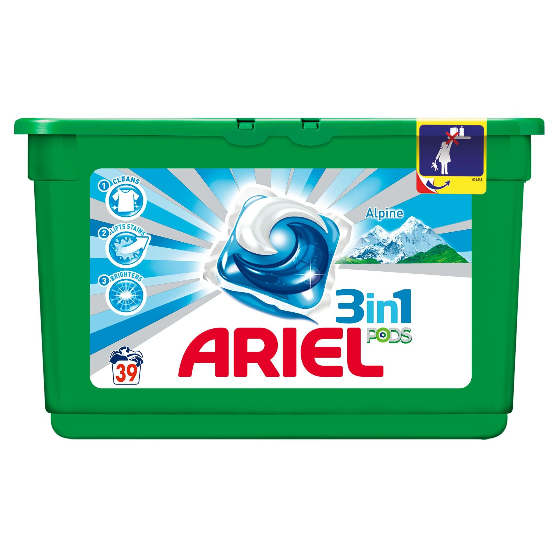 Ariel 3 in 1 Alpin Gel Capsules за бяло пране 39
