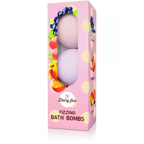 Dairy Fun Bath Bombs Blueberry, strawberry and peach