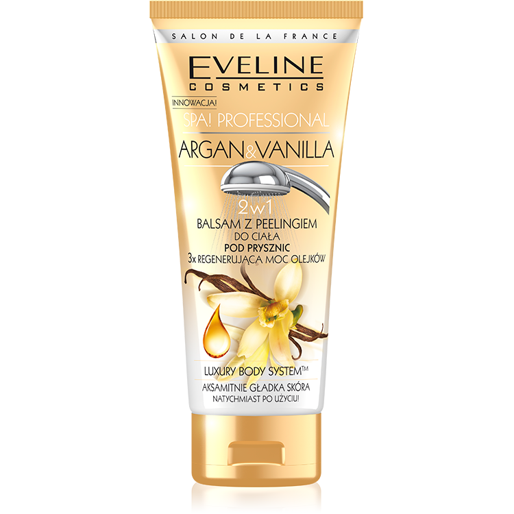Eveline SPA Argan & Vanilla body balm in shower with peeling effect
