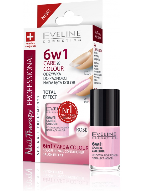 Eveline Заздравител & Лак за нокти 6 в 1 Care & Colour Rose